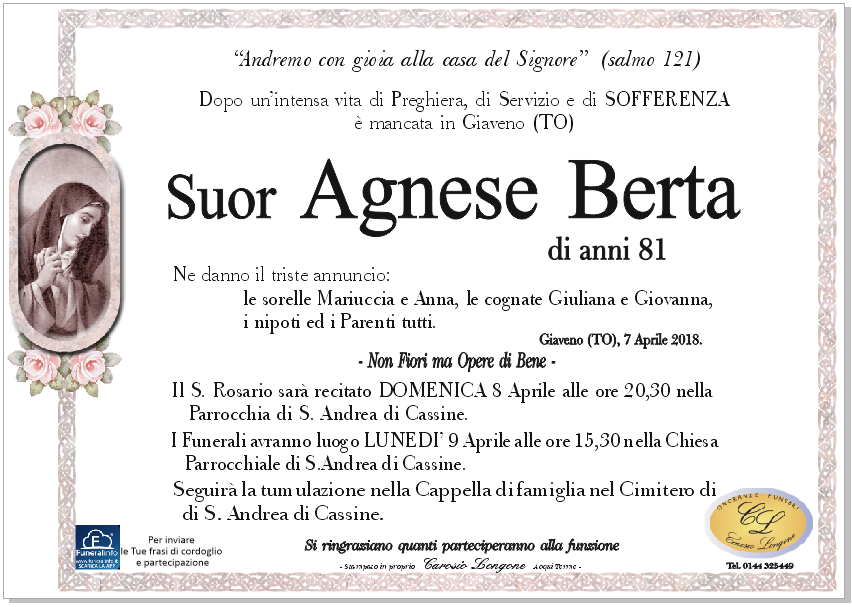 Suor Agnese Berta Anni81 SAndreadiCassine